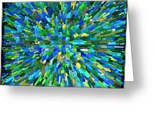 Abstrract Cubes Blue Greeting Card