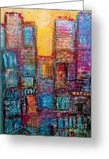 Abstrtact City Sunset Greeting Card