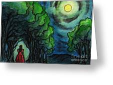 Ac224 Girl Under Full Moon Greeting Card