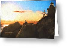 Acadia Bass Harbor Head Lighthouse Silhouette Greeting Card