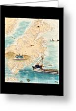 Accomplice Kodiak Crab Fishing Boat Cathy Peek Nautical Chart Map  Greeting Card