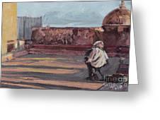 Accordion Man Of Old San Juan Greeting Card
