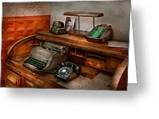 Accountant - Typewriter - The Accountants Office Greeting Card by Mike Savad