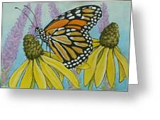 Aceo Monarch On Wild Grey Headed Coneflower Greeting Card