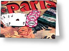 Aces In Paris Greeting Card by John Rizzuto