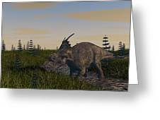 Achelousaurus Grazing In Swamp Greeting Card