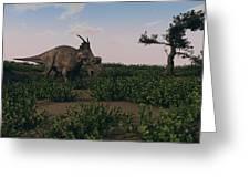 Achelousaurus Walking Amongst Swamp Greeting Card