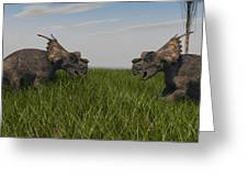Achelousauruses Confrontation In Swamp Greeting Card