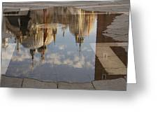 Acqua Alta Or High Water Reflects St Mark's Cathedral In Venice Greeting Card