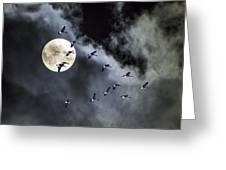 Across A Harvest Moon Greeting Card