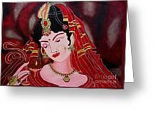 Acrylic Painting-lady With Diya Greeting Card
