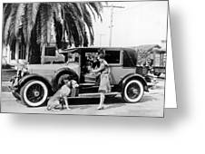 Actress And Dogs Go On Trip Greeting Card