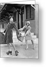 Actresses On Roller Skates Greeting Card
