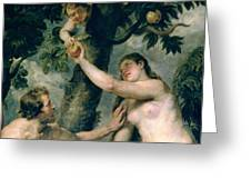Adam And Eve Greeting Card by Rubens