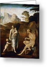 Adam And Eve With Cain And Abel Greeting Card