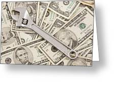 Adjustable Wrench On Pile Of Money Greeting Card