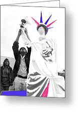 Adjusting  Torch Statue Of Liberty Statue July 4th Parade Tucson Arizona  Greeting Card