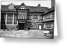 Adlington Hall Courtyard Bw Greeting Card