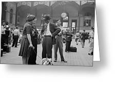 Admiring The Dog At Penn Station 1942 Greeting Card