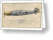 Adolf Galland Messerschmitt Bf-109 - Map Background Greeting Card