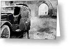 Adolf Hitler Shortly After His Release From Prison With A Mercedes 1924 - 2012 Greeting Card