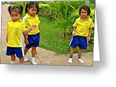 Adorable Sweethearts Welcoming Committee At Baan Konn Soong School In Sukhothai-thailand Greeting Card
