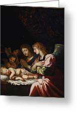 Adoration Of The Angels Greeting Card