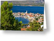 Adriatic Town Of Vinjerac Aerial View Greeting Card