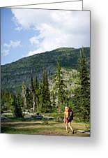 Adult Woman Hiking Through An Alpine Greeting Card