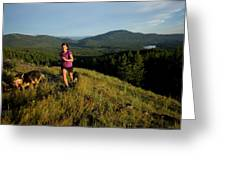 Adult Woman Trail Running Greeting Card