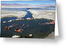 Adults Bathing In Hot Springs Greeting Card