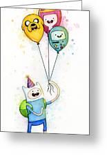 Adventure Time Finn With Birthday Balloons Jake Princess Bubblegum Bmo Greeting Card