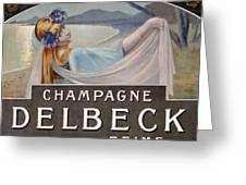 Advertisement For Champagne Delbeck Greeting Card by Louis Chalon