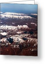 Aeial View Of The Snowy Mountains Greeting Card