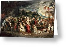 Aeneas And His Family Departing From Troy Greeting Card