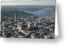 Aerial Image Of The Seattle Skyline  Greeting Card