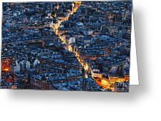 Aerial Night View Of Paris Greeting Card
