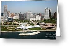 Aerial Of Milwaukee Skyline Greeting Card