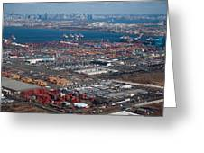 Aerial Over Newark And New Yourk Greeting Card