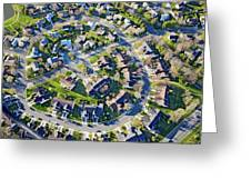 Aerial Pattern Of Residential Homes Greeting Card