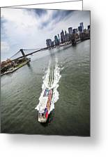 Aerial View - Red Tourist's Boat At East River Greeting Card