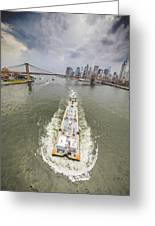 Aerial View - The Barge At The East River Greeting Card
