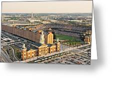 Aerial View Of A Baseball Stadium Greeting Card