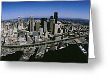 Aerial View Of A City, Seattle Greeting Card