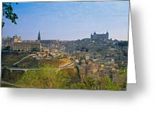 Aerial View Of A City, Toledo, Spain Greeting Card