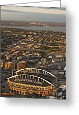 Aerial View Of Bellevue Skyline And Century Link  Greeting Card