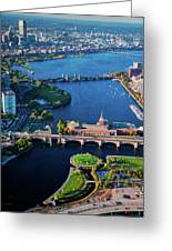 Aerial View Of Bridges Crossing Charles Greeting Card
