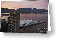 Aerial View Of Canada Place At Sunse Greeting Card