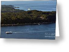 Aerial View Of Ferry Boats On Puget Sound One Leaving Bainbridge Greeting Card