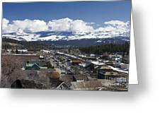 Aerial View Of Historic Downtown Truckee California Greeting Card